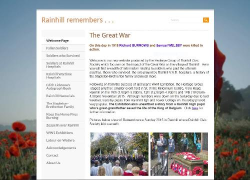 Rainhill Remembers website